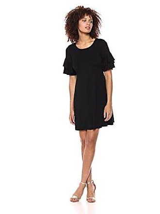 Karen Kane Womens Ruffle Sleeve Dress, Black, Extra Small