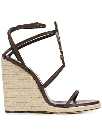 Saint Laurent Cassandra wedge sandals - Brown