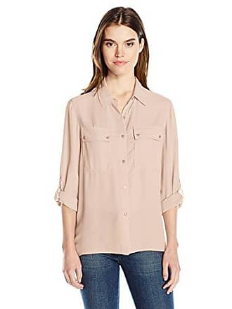Jones New York Womens Pleated Back Button Up W/Rolled Sleeve, Blossom, S