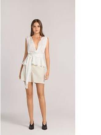 Lebôh Blusa Decote V Cavada Faixa Cintura Off White G