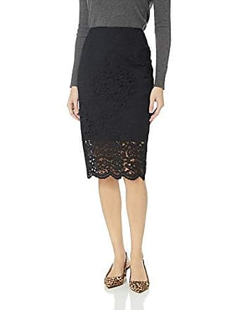 Nicole Miller Apparel Knee Length Pencil Skirt, Black Lace, 16