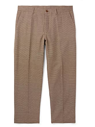 Ymc You Must Create Cropped Checked Cotton-blend Trousers - Brown
