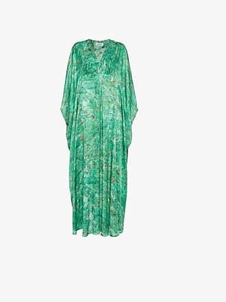 e1d61377395 Märta Larsson MÄRTA LARSSON Green Chrysocolla Printed Silk Kaftan Maxi Dress