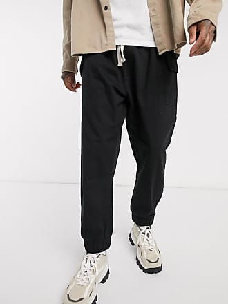 Reclaimed Vintage Reclaimed vintage inspired drop crotch cargo trousers with drawstring in black