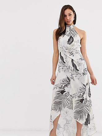 3771a1871d0 Asos Tall high neck satin twill maxi dress in tonal palm print - Multi