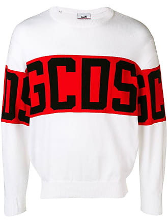 GCDS logo knit sweater - White