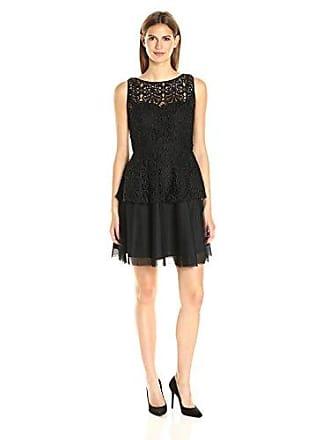 Adrianna Papell Womens Lace Peplum Dress W/Full Netted Skirt, Black, 10