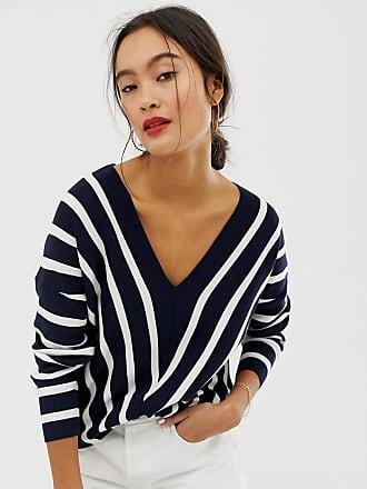 Only vertical stripe wide v neck sweater - Navy