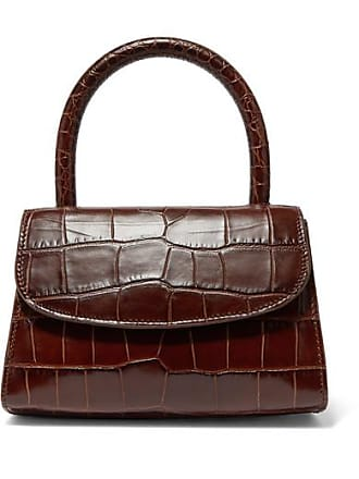 by FAR Mini Croc-effect Leather Tote - Dark brown