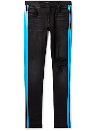 Amiri Broken Track Skinny-fit Striped Distressed Stretch-denim Jeans - Black