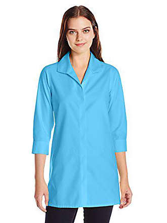 Foxcroft Womens 3/4 Sleeve Skye Essential Non Iron Tunic, Aqua Sea 6