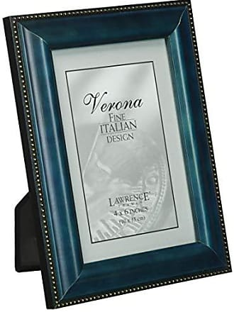 Lawrence Frames Blue Wood 4x6 Picture Frame - Gold Bead Design
