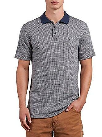 Volcom Mens Wowzer Plaid Polo Shirt, Stone, S