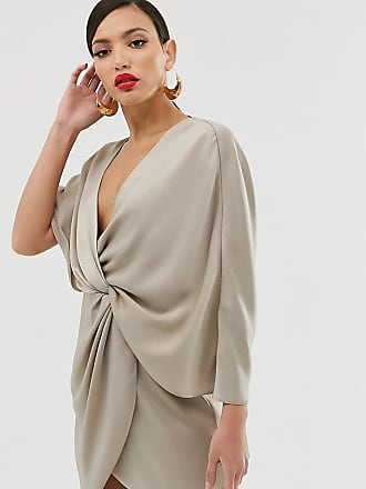 Asos Tall ASOS DESIGN Tall - Minikleid aus Satin mit asymmetrischen Kimonoärmeln-Mehrfarbig