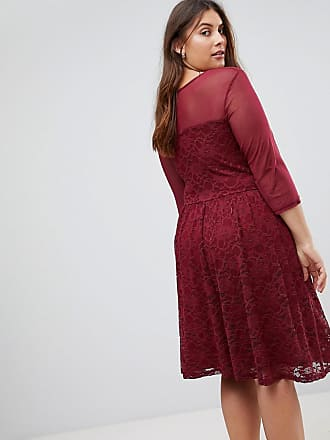 Junarose lace skater mini dress with sheer bodice in red - Red bc2b3d95e