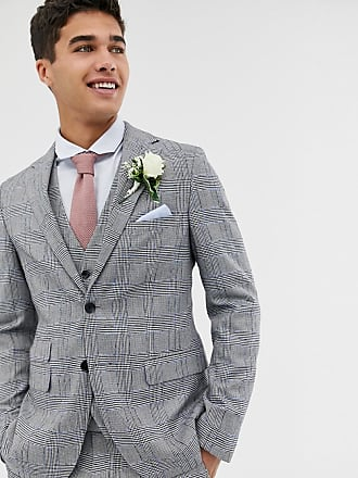 Moss Bros. Moss London skinny suit jacket with check boucle-Grey