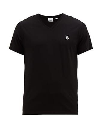 b3b8431e0f9 Burberry Monogram Embroidered V Neck Cotton T Shirt - Mens - Black