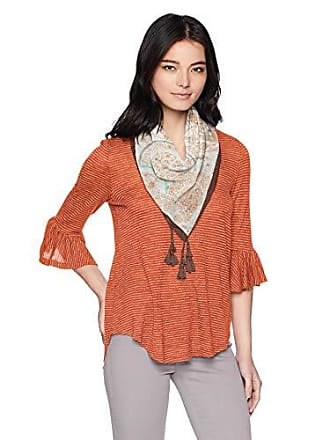 Oneworld Womens Petite Size 3/4 Sleeve Stripe Top with Tassel Scarf, Mandarin PL