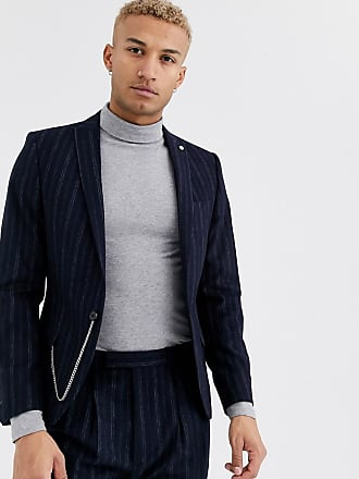 Twisted Tailor Giacca da abito super skinny blu navy a righe