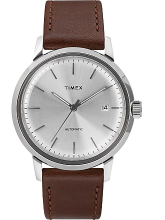 Timex Watch Mens Marlin Automatic 40MM Leather Strap Stainless Steel/brown/silver-Tone Item Tw2T22700Zv