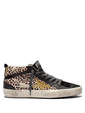 Golden Goose Mid Star Mid Top Leather And Calf Hair Trainers - Womens - Black Multi