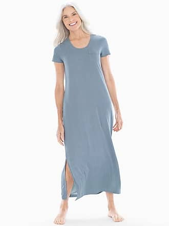 Soma Cool Nights Short Sleeve Long Sleepshirt Pin Stripe Vertical Blue, Size XS