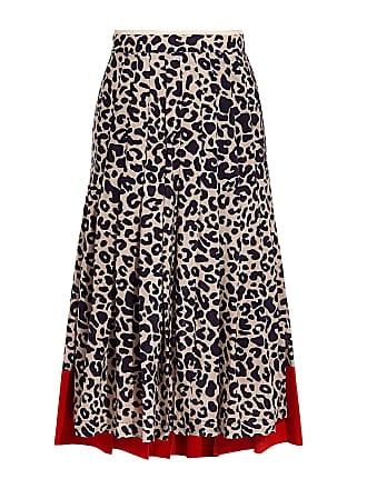 e79c630c25 N°21 Leopard Animal-print Asymmetric Silk Knee Length Pleated Skirt  White_leopard