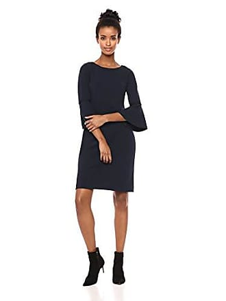 Tommy Hilfiger Womens Scuba Crepe Bell Sleeve Dress with Gold Piping, Sky Captain, 10