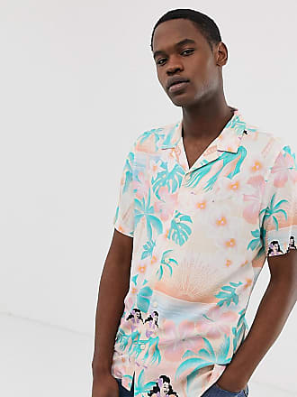 047e590fe Asos Tall Festival relaxed hawaiian shirt with revere collar in pink