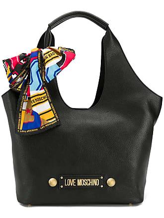 Love Moschino logo plaque tote - Black