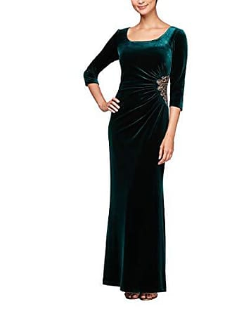 Alex Evenings Womens Long Velvet Dress Gown Different Necklines Available, Forest, 14
