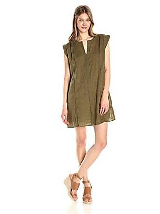 Lucky Brand Womens Popover Solid Dress, Dark Olive, Medium