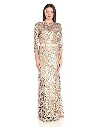 e9a502a1b637 Tadashi Shoji Womens Sequin Embroidered Gown with 3/4 Sleeve and Belt,  Ginseng 4