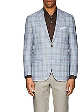Sartorio Mens PG Plaid Wool-Blend Two-Button Sportcoat - Blue Size 42 R