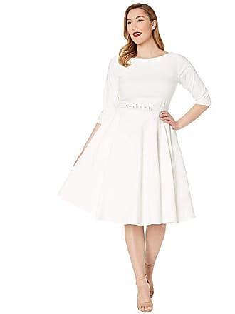 4ddfa419390a Unique Vintage Plus Size 1950s Style Stretch Sleeved Devon Swing Dress  (Ivory) Womens Dress