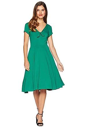 Unique Vintage 1940s Style Knit Short Sleeve Natalie Swing Dress (Green) Womens Dress