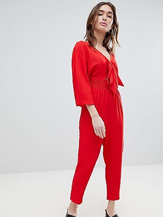 d6024d042a4a Lost Ink Petite Jumpsuit With Tie Front And Shirred Waist