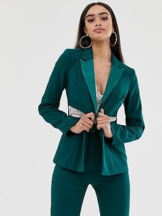 4th & Reckless satin trim blazer with waist cutouts in green