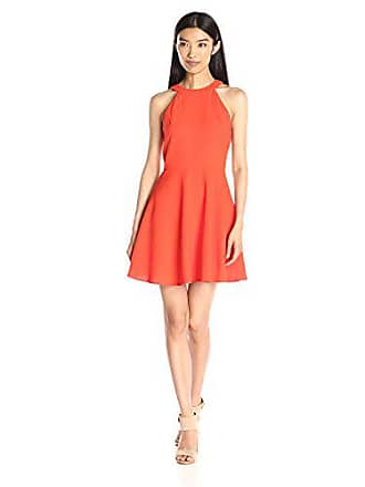 J.O.A. JOA Womens High Neck Baby Doll Dress, Red Coral, X-Small