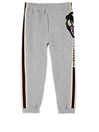 5a83b18ed93 Gucci Kids Tiger-Face-Patch Logo-Striped Cotton Terry Sweatpants - Gray Size