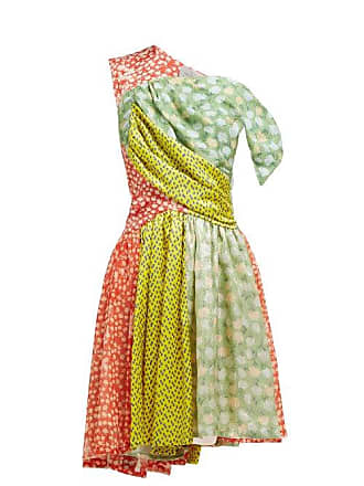 Preen Monica Multi Print Asymmetric Silk Blend Dress - Womens - Multi