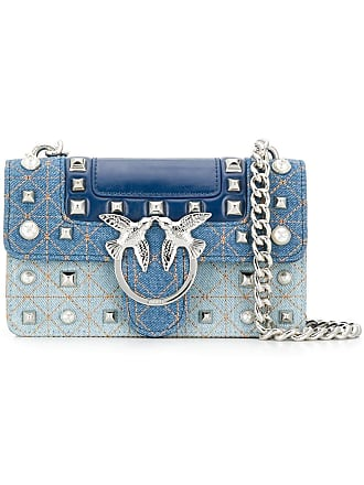 Pinko mini Love denim crossbody bag - Blue
