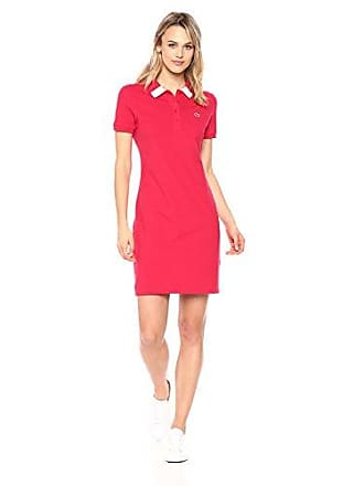 Lacoste Womens Short Sleeve Classic Stretch Fancy Polo Dress, Ef3060, Toreador/Flour, 8