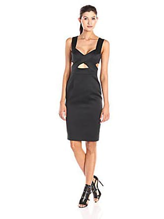 Cynthia Rowley Womens Satin Dress with Cut Outs, Black, 8