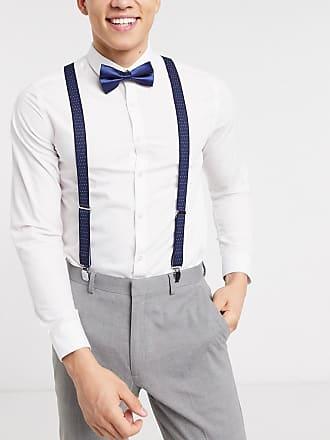 Asos Wedding brace and bow tie set in navy blue and white pokla dot