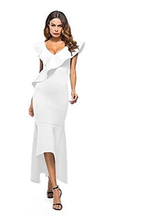 9589a1fc2a3a53 LHWY Kleider Damen Elegant, Frauen Langes Abendkleid Kleid Ärmellos Rüschen  Unregelmäßiges Kleidung Abend Partykleid V