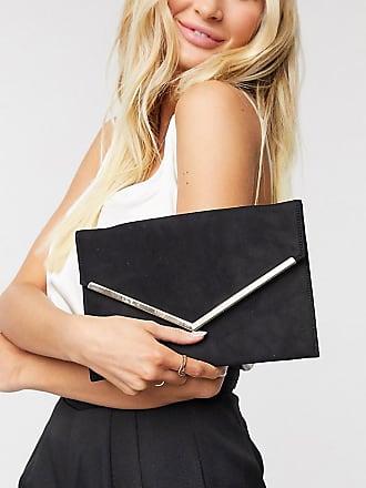 Glamorous Exklusive, schwarze Überschlag-Clutch mit abnehmbarer Tragekette