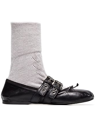 ebacb1390f59 Delivery  free. Miu Miu Grey Buckled Sock Ballerina Flats - Black