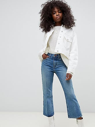 aabf24615478 Asos Petite ASOS DESIGN Petite - Egerton - Jeans cropped a zampa rigidi blu  medio stone
