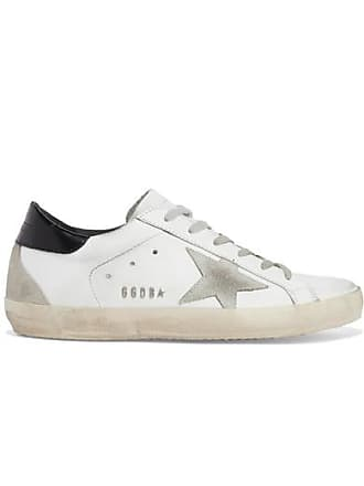 c3653c4c57bd9 Golden Goose Superstar Distressed Leather And Suede Sneakers - White